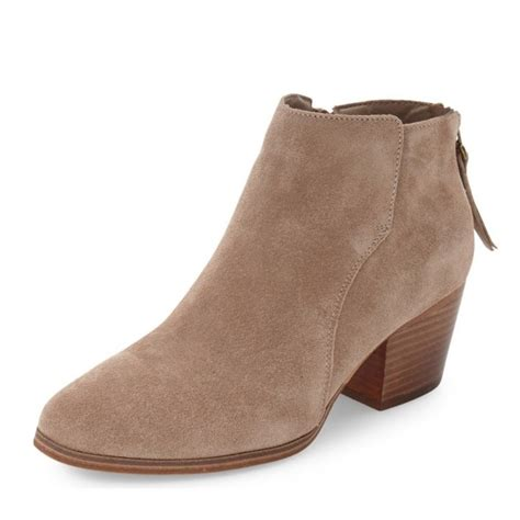 s brown suede ankle chunky heels boots for work