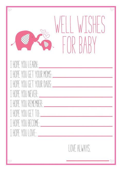 Well Wishes Baby Shower by Pink Elephant Baby Shower Printable Well Wishes For Baby
