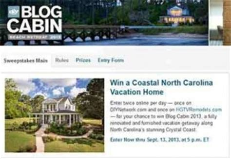 Diy Cabin Giveaway 2013 - hgtvremodels sweepstakes entry form autos post