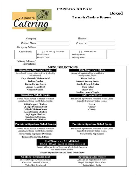 8 catering order form free sles exles download