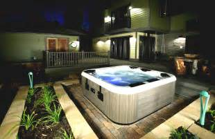backyard patio ideas with tub and outdoor living