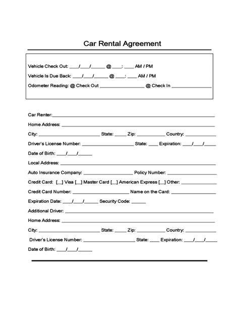 car leasing agreement template sle form for car rental and lease free