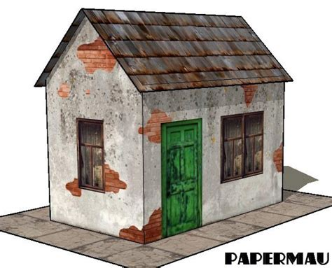 model houses to build papermau easy to build derelict house paper model by
