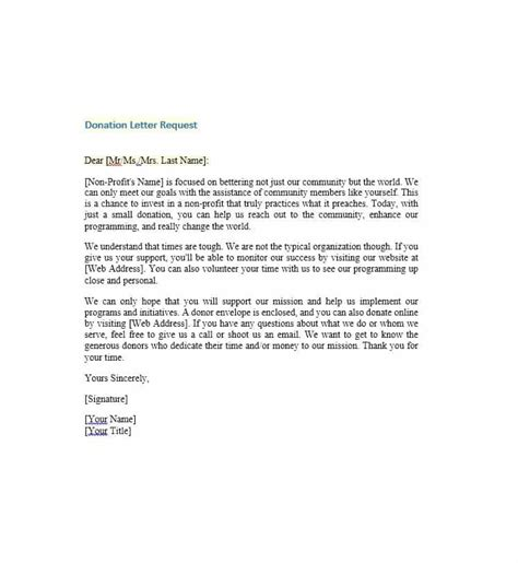 Donation Letter Of Request 43 Free Donation Request Letters Forms Template Lab