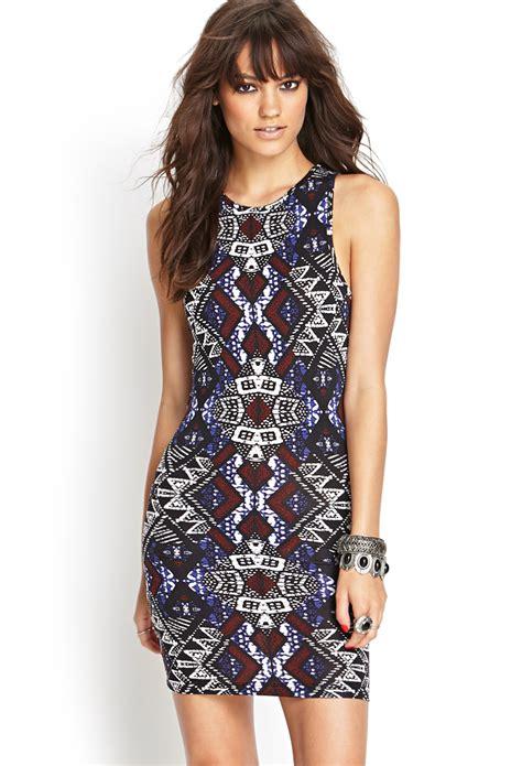 Tribal Blue Chika Dress forever 21 tribal print bodycon dress in blue lyst