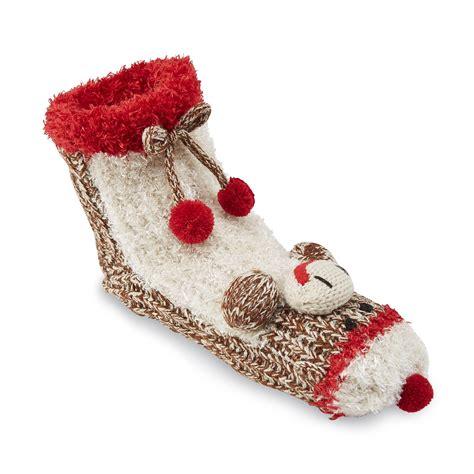 sock monkey slippers joe boxer s plush slipper socks sock monkey