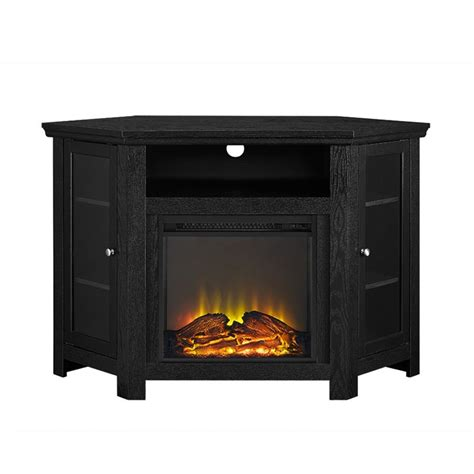 walker edison 48 quot corner fireplace tv stand in black