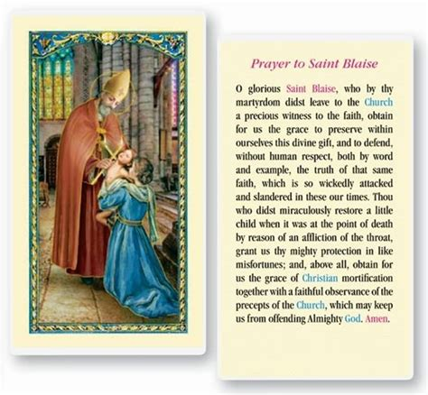 prayer to st blaise healer of throat ailment books holy child of atocha chaplet prayer card in or