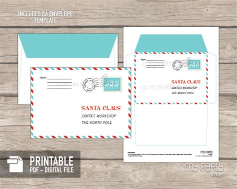 printable letter and envelope from santa printable letter to santa kit with envelope template my