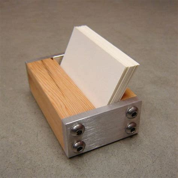 desk card holder business card holder for desk wood and metal modern office decor choice of wood light