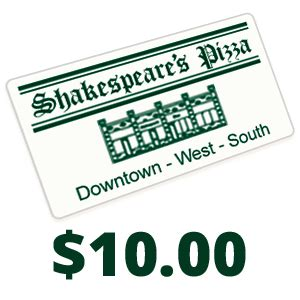 10 00 Gift Cards - gift card 10 00 shakespeare s pizza