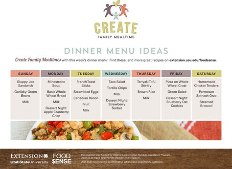 dinner menu ideas mccormick create family mealtime weekly menu ideas eat well utah