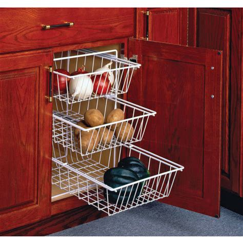 Kitchen Cabinet Baskets | 3 tier pull out vegetable baskets for kitchen base cabinet