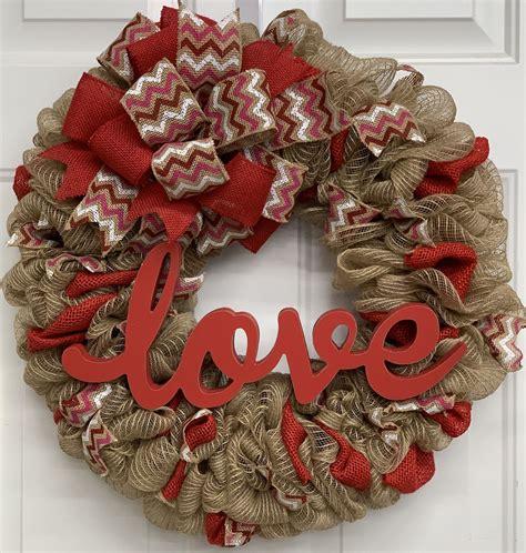burlap mesh valentines day love wreath  front door