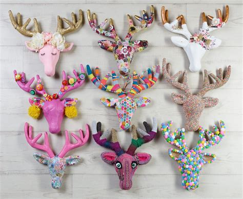 Paper Mache Craft Ideas - decorating papier mache deer heads