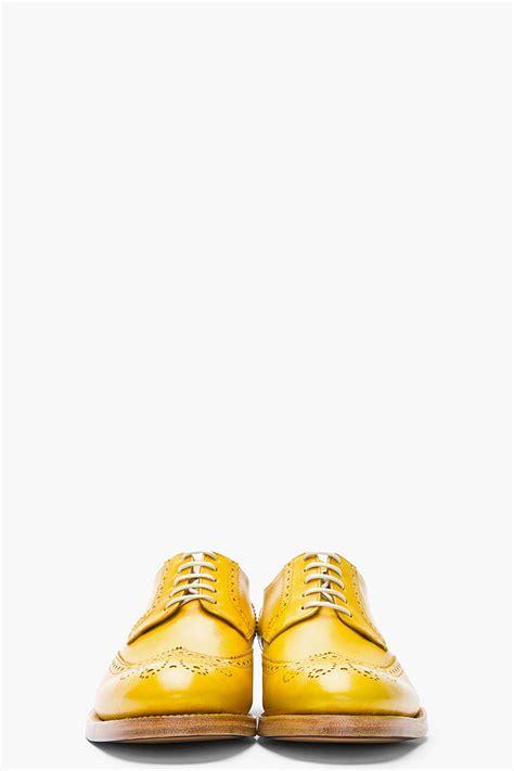 lyst kenzo mustard yellow leather elliott wingtip brogues  metallic  men