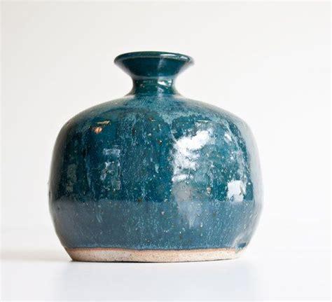 Teal Pottery Vase Vintage Modern Rustic Teal Pottery Vase