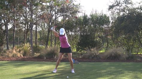 slow motion video of perfect golf swing michelle wie perfect face on fairway wood golf swing