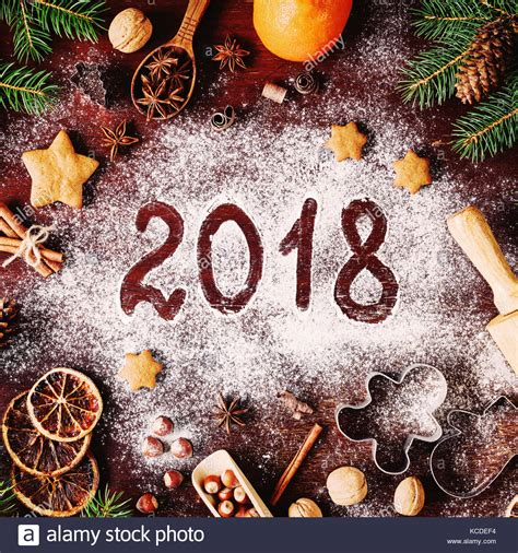 new year cookies 2018 new year or 2018 written on flour