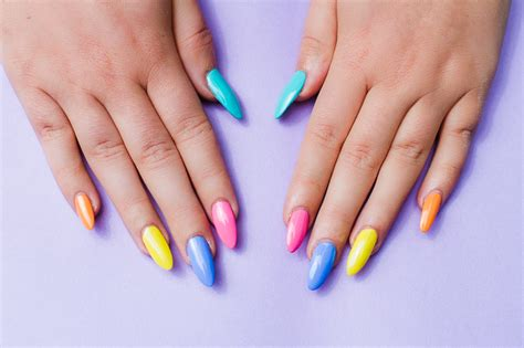 colorful nail bright and colourful geometric nail tutorial bespoke