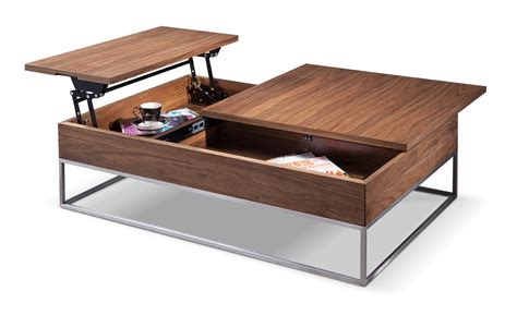 Modern Coffee Table With Storage Modrest Telson Modern Walnut Coffee Table W Storage