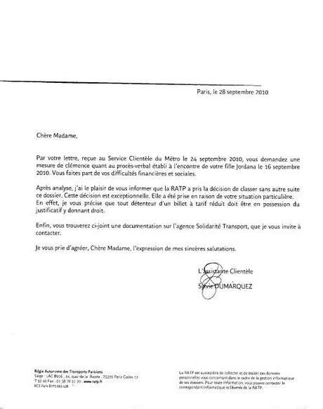 Exemple De Lettre De Demande Remise Gracieuse D 233 Marche R 233 Ussie Remise Gracieuse D Amende Ratp Paperblog