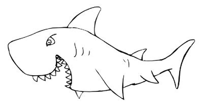 shark outline coloring page best photos of black and white shark template shark