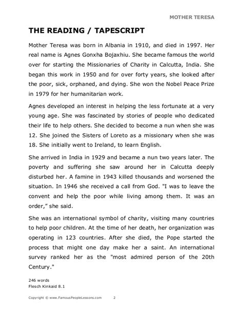 Biography Of Mother Teresa In Pdf | mother teresa pdf