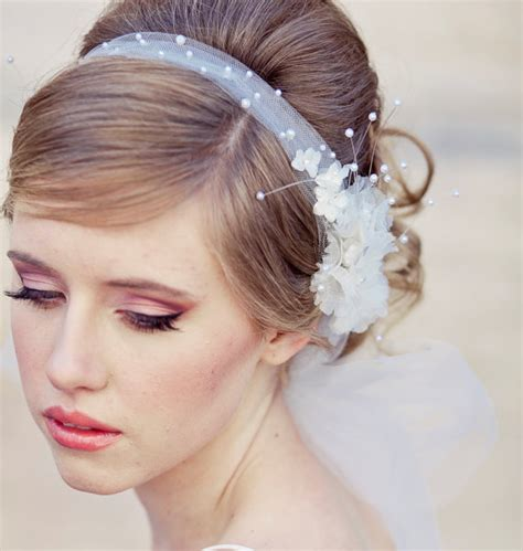 bridal hairstyles with headband and veil wedding veil tie headband of net and vintage by besomethingnew