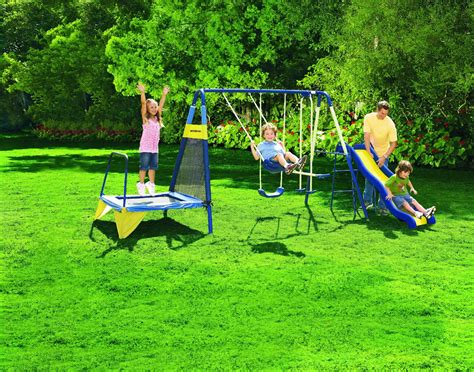 swing and slide set kmart sportspower jump n swing metal backyard swing set