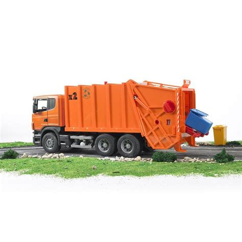 bruder garbage truck bruder scania r series orange toy garbage truck