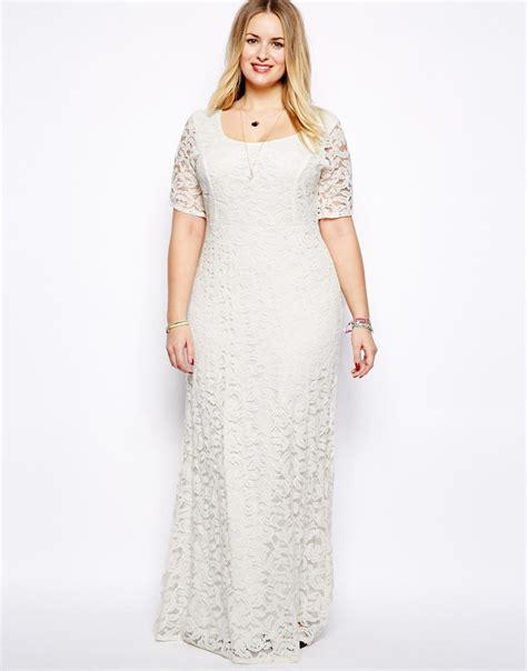 Elegant Plus Size White Lace Half Sleeve Bodycon Maxi