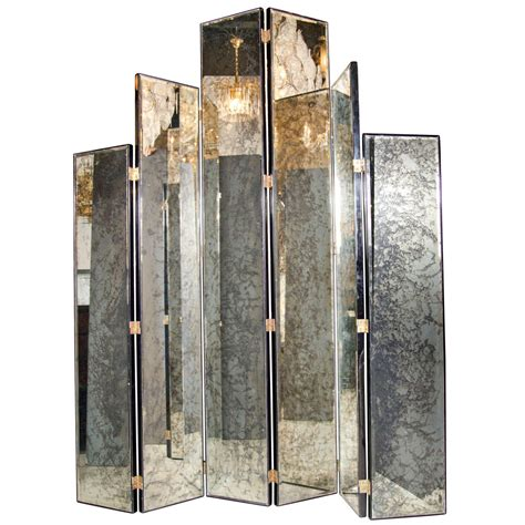 Glamourous Art Deco Skyscraper Style Mirrored Screen At Mirror Room Divider