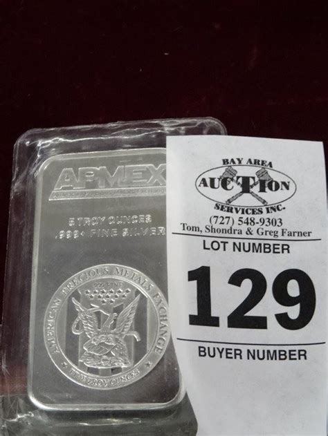 1 Troy Ounce Silver Bar - 5 troy ounce silver bar