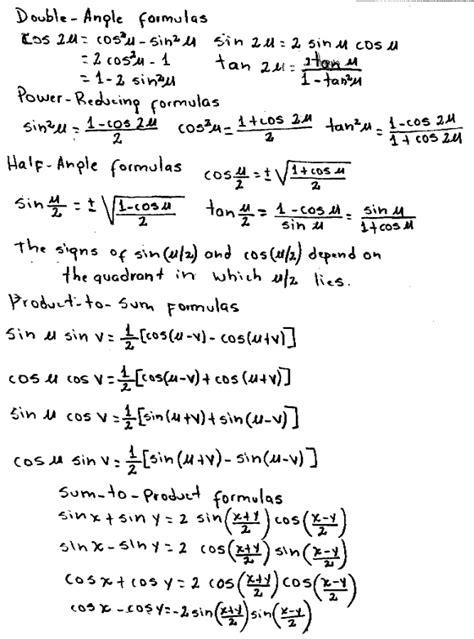 Half Angle Formula Worksheet