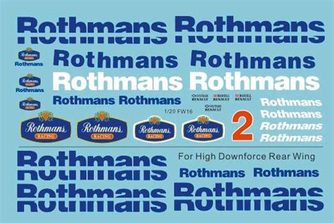 rothmans porsche logo 1 20 williams fw16 sponsor decal rothmans for fujimi