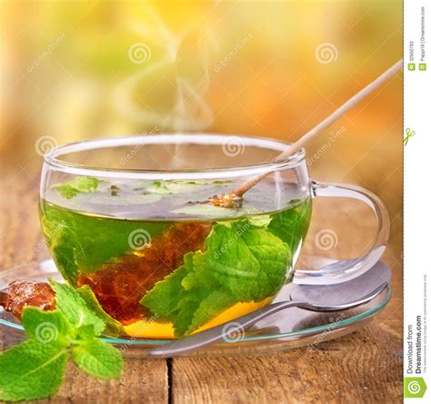 Green Table Settings - tea in glass stock photos image 32900793