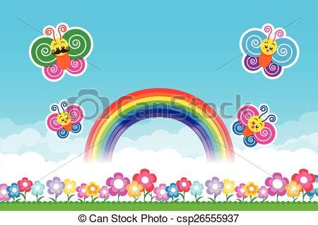 rainbow house beautiful nature phenomenon vector logo icon butterfly rainbow on nature background with green grass