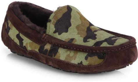 ugg camo slippers ugg ascot camo slippers in brown for brown lyst