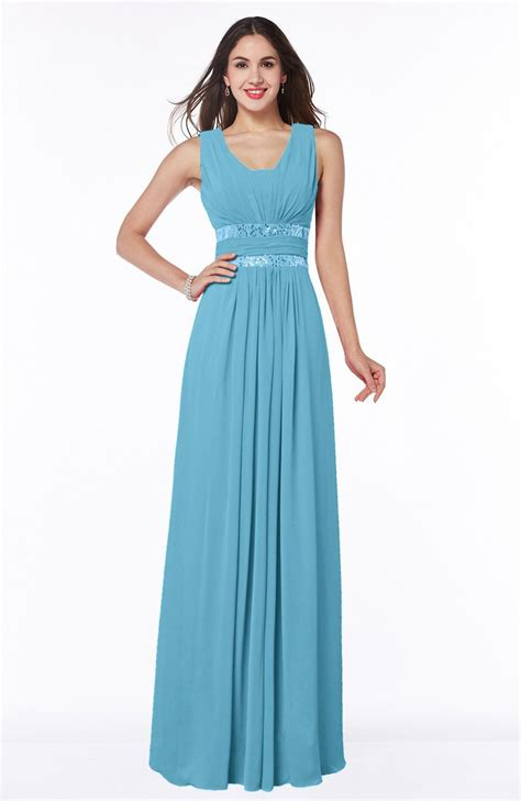 light blue pleated dress light blue bridesmaid dress a line zipper floor