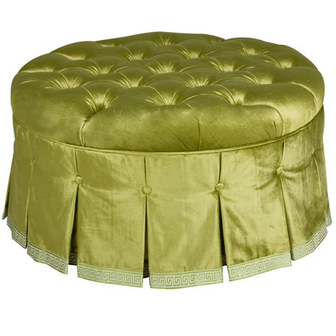 round green ottoman mayfair round ottoman in majestic lime green fabric by art