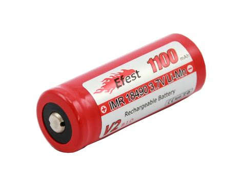 Efest Imr 18490 Li Mn Battery 1100mah 3 7v efest 3457 imr 18490 1100mah 3 7v unprotected lithium manganese limn2o4 button top battery boxed