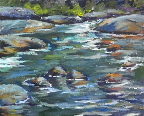 acrylic painting river surf and moss rocks introduction acrylic painting