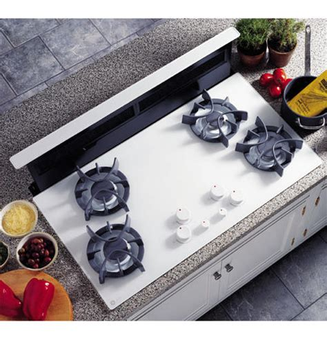 ge gas cooktop with downdraft ge profile 36 quot downdraft gas cooktop jgp656wbww ge