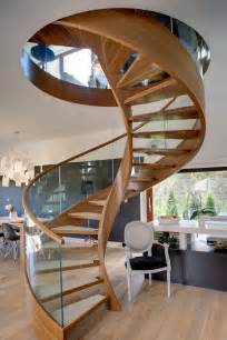Circular Staircase Contemporary Spiral Staircase In Wood And Glass Spiral