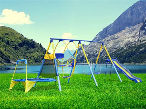 kid backyard playground set swing set for backyard outdoor metal playground toddler