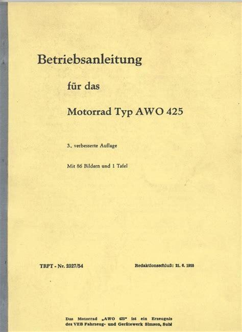 Awo 425 Reparaturanleitung by Betriebsanleitung Und Reparaturanleitung Awo 425