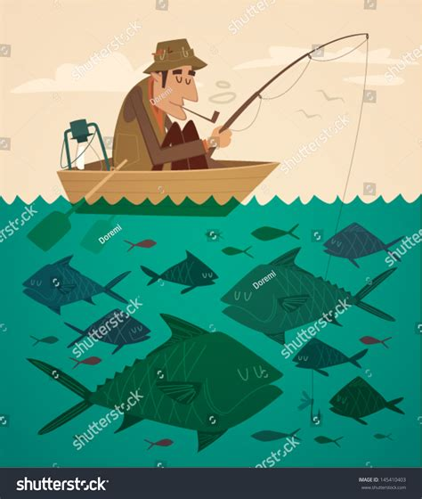 fishing boat clipart illustrations fishing on the boat vector retro styled illustration