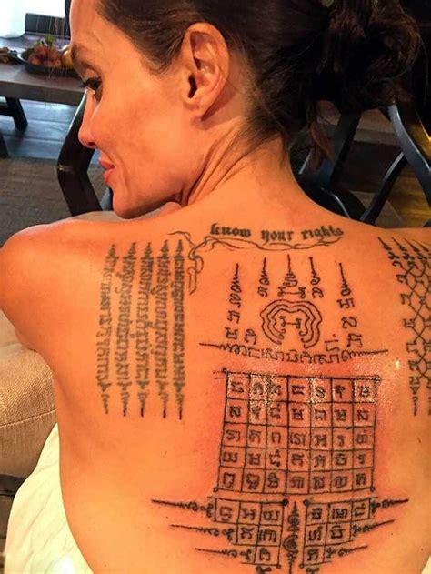 angelina jolie yantra tattoo angelina jolie s sak yant tattoos tattoo yantra sakyant
