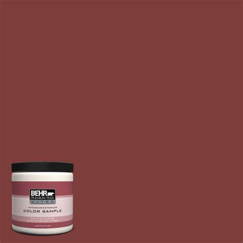 behr premium plus ultra 8 oz ul110 2 cinnabar interior exterior paint sle ul110 2 the
